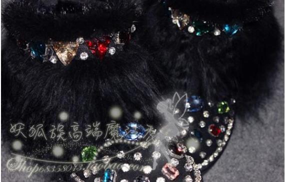 Magic show originele luxe mink fur glas aquarel boor lederen laarzen strand wol snowboots - 2