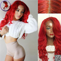Red Color 150 Density Full Lace Human Hair Wigs Brazilian Virgin Hair Red Loose Wave With Baby Hair For Black Women Top Quality