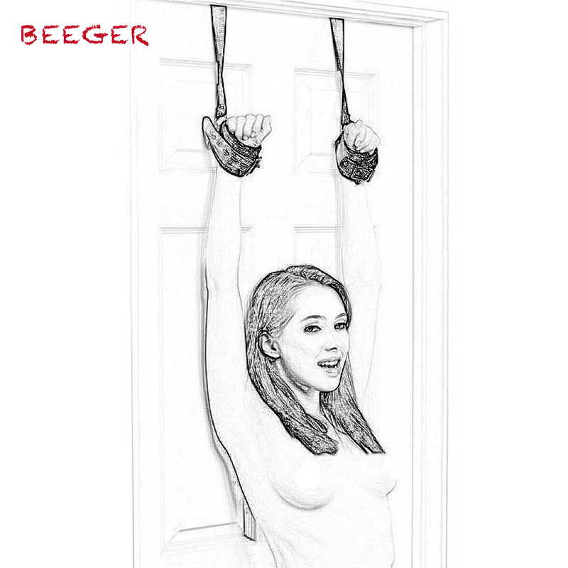 BEEGER Shackles On The Door Men Women Chastity Lock Sex Handcuffs Locks Fetish BDSM Bondage Locks Restraints Hand Cuffs