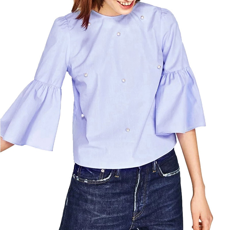 New Spring Autumn Women Loose Blouse Work Wear Flare Sleeve Pullover Shirts Blusa Feminina