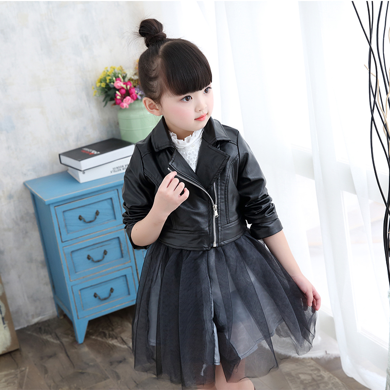 Spring Fashion Kids Jacket PU Leather Girls Jackets Clothes Children Outwear For Baby Girls Boys Clothing Zipper Coats Costume spring kids clothes pu leather girls leather dress jackets children outwear for baby girls clothing coats costume 3 13years