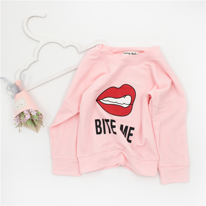 ZTKIDS Brand Design Kids Lip Print Sweatshirt Baby Girls Pink Clothes Long Sleeve Outwear Clothing Children Fashion Tops Bite Me