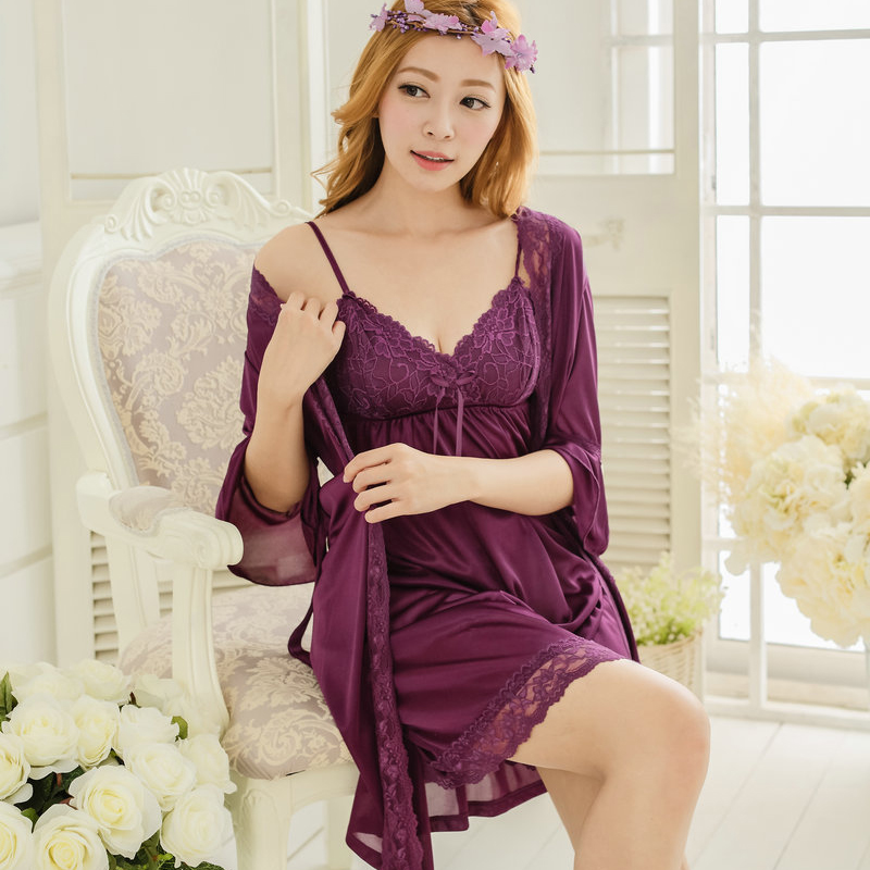 Free shipping women lace nightdress robe sets bathrobe Sleepwear nightgown  2016 Spring black white Y425-in Robe   Gown Sets from Women s Clothing   ... 9eaac7470
