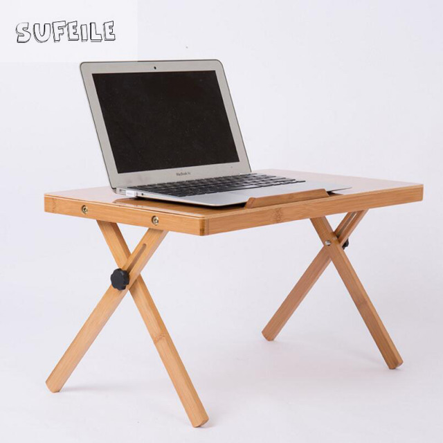 Sufeile Portable Folding Laptop Desk Natural Bamboo Table Adjule Height Computer
