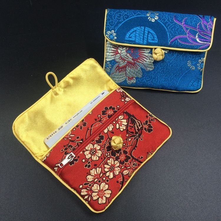 Classic Small Zipper Jewelry Gift Bag Chinese knot Card Holder Silk Brocade Packaging Coin Pouch