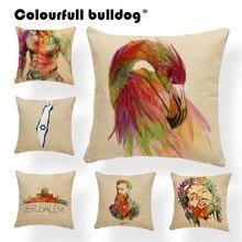 Cojines de pájaros almohadas de cuerpo Vintage Israel Silla de belleza casa calentamiento regalos Londres Fundas de cojín New York 17X17 lino
