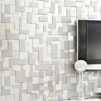 3d Flocking High Foaming Luxury Mosaic Style Wallpaper For Tv Background Wall Covering Paper