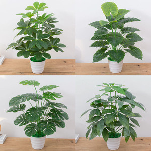 Image 1 - 60CM Artificial Real Touch Plant Monstera Tree without Pot, Fake Plant Tree Decoration For Home Garden