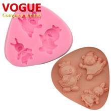 DIY Lovely Duck Bear Easter Bunny Rabbit Styling Silicone Cake Mold Baking Cooking Tools Cake Chocolate Muffin Candy Mould N2405