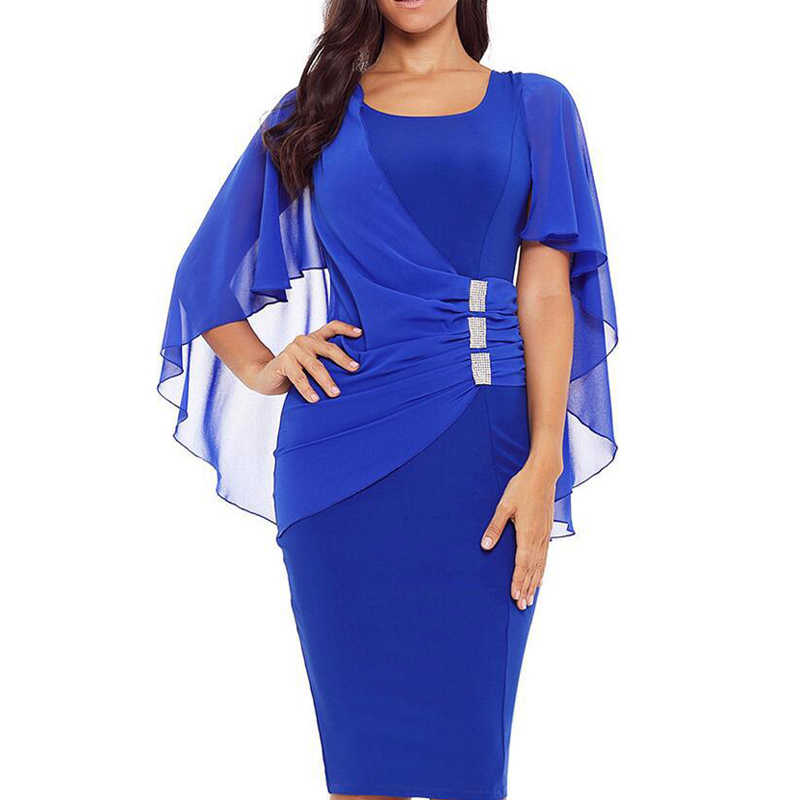 Women Dress Irregular O-Neck Solid Color Slim Fit Evening Party Women Polyester Fashion Gauze Shawl Pencil Dress Ladies платье