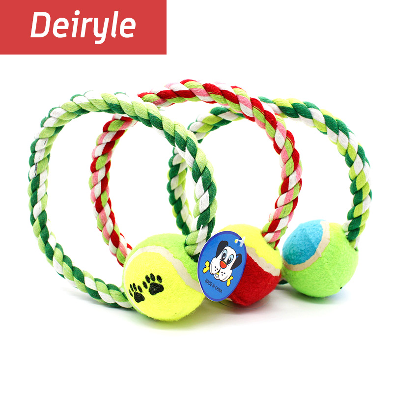 Dog Toys Cotton Rope With Ball Dog Toys For Aggressive Chewers Molar Clean Teeth Dog Training Toys For Boredom