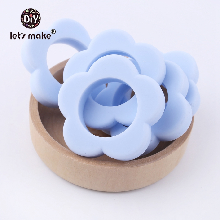 Let's Make Eco-friendly Candy Blue Flower Food Grade Silicone DIY Necklace For Baby Chewable Accessories Teething Baby Teether