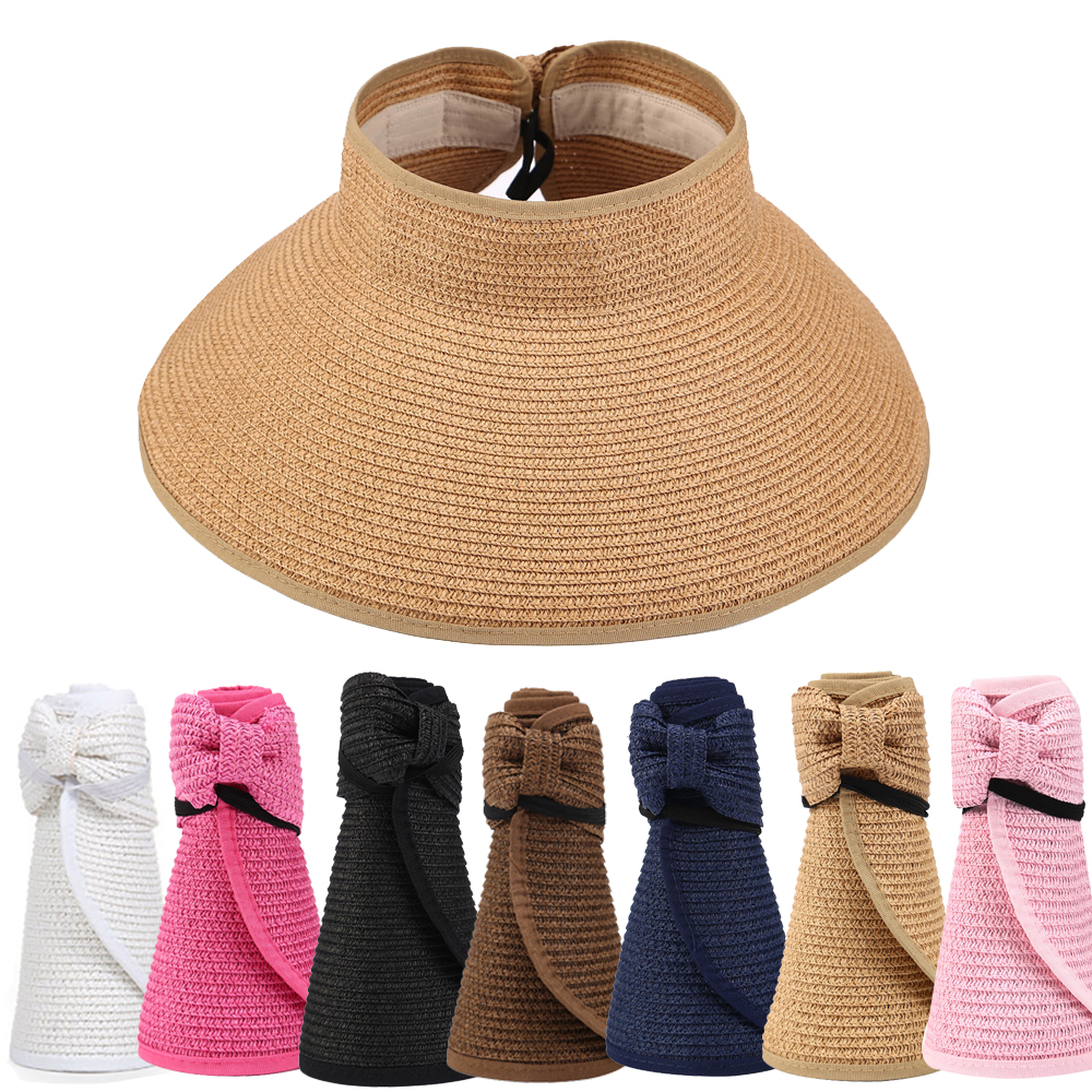 Women's Casual Floppy Summer Sun Beach Straw Hats UPF 50 Foldable Wide   Brim Visor Hat Female Sun Shade Hat With Cute Bowtie