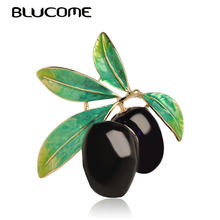Blucome Green Fruit Olive Brooch Plum Shape Gold Color Enamel Corsages Pins Suit Coat Scarf Accessories Christmas Jewelry Gifts(China)