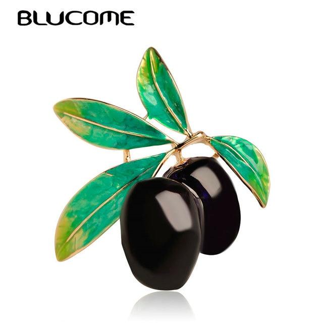 Blucome Green Fruit Olive Brooch Plum Shape Gold Color Enamel Corsages Pins Suit