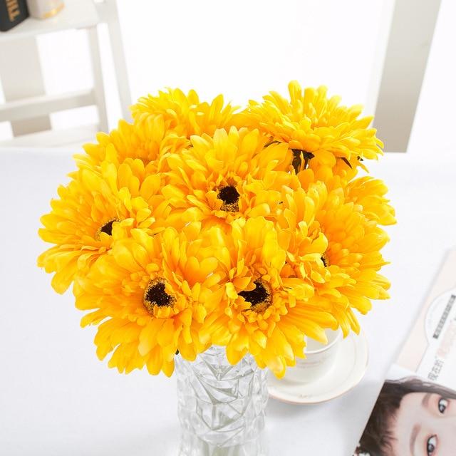 Silk cloth Mini Yellow Daisy Artificial Flower Bouquet Wedding Party ...
