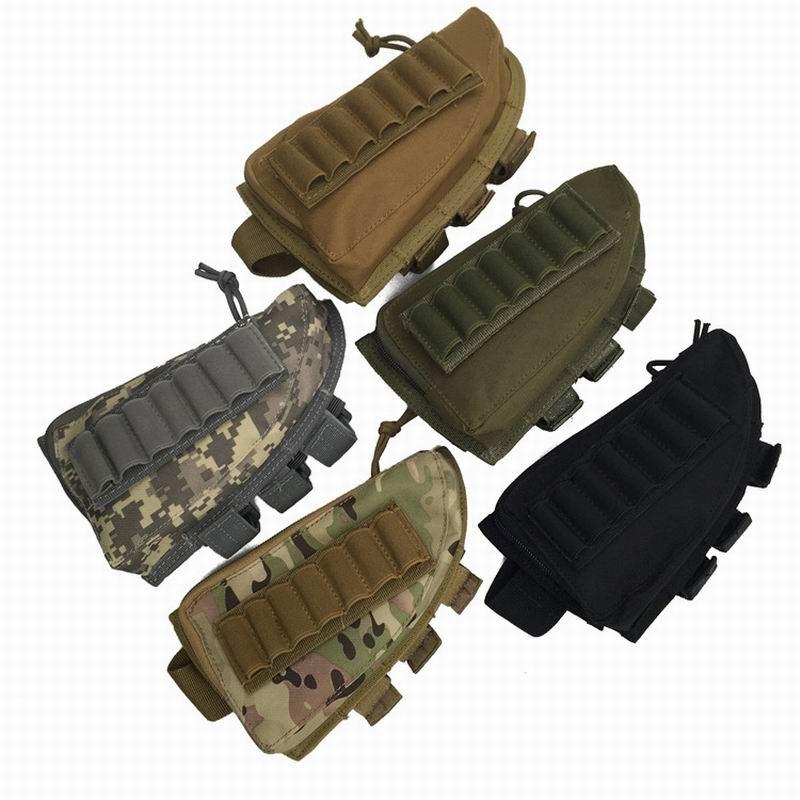 Tactical Rifle Shotgun Buttstock Cheek Rest Rifle Stock Ammo Shell Nylon Magazine Molle Pouch Holder Tan