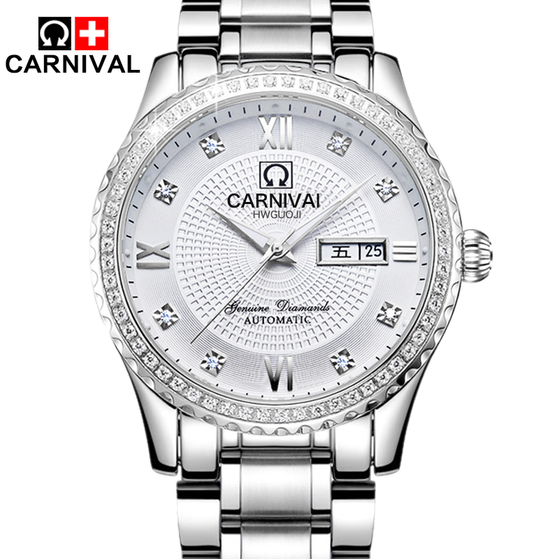 2017 Top Luxury Brand CARNIVAL Men Automatic Mechanical Watch Full Steel Mens Watches Sports Military Wrist Watches Waterproof