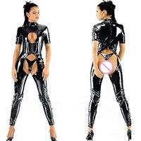 Sexy Women Bandage Black Fishnet Latex Bodysuits Open Crotch Stretch Clubwear PU Erotic Sex Dancing Game Role Uniforms Lingerie