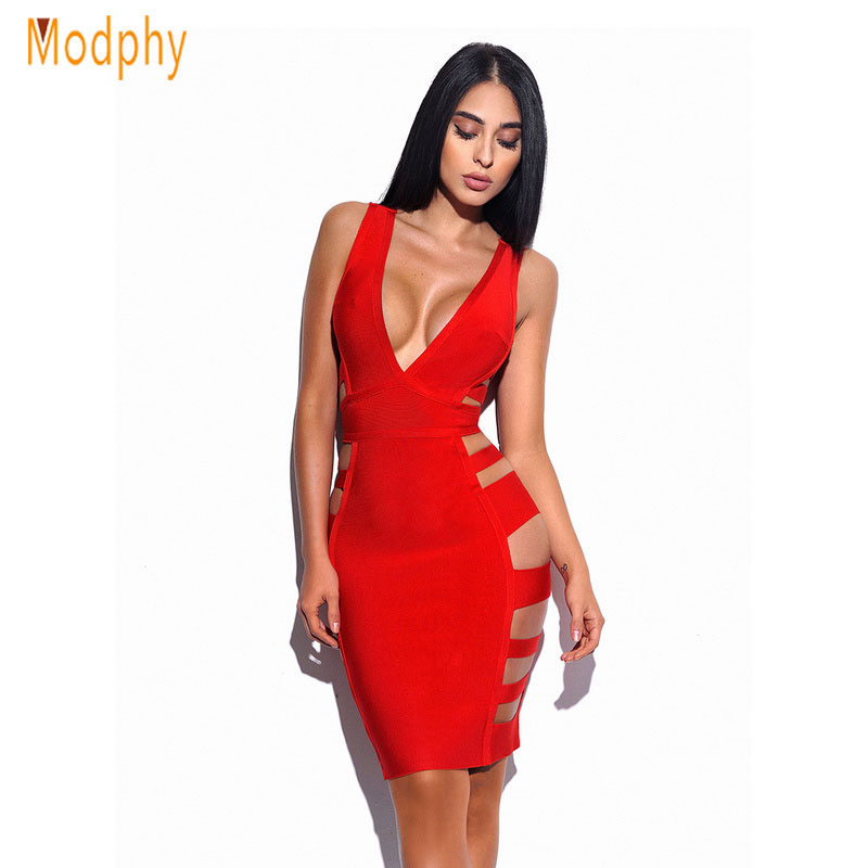 <font><b>2019</b></font> New Women <font><b>Sexy</b></font> Side Cut Hollow Out V-Neck Busty Rayon Elastic Stretchy Mini Celebrity Party hl Bandage Dress Dropship HL978 image