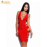 2019 neue Frauen Sexy Side Cut Aushöhlen V-ausschnitt Vollbusige Rayon Elastische Stretchy Mini Promi Party hl Verband Kleid Dropship HL978