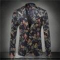 2016 Outono Moda Masculina Estilo Britânico Flor Digital Magro Blazers Outerwear Terno Masculino Business Casual Partido mostrar stage wear