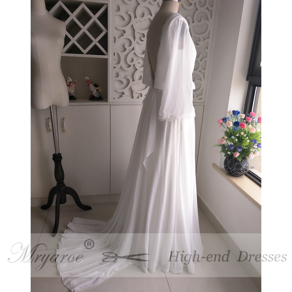 ... Mryarce Chiffon Summer Hippie Style Wedding Dress Long Flare Sleeves  Open Back Boho Chic Rustic Bridal ... c403382fc0dd