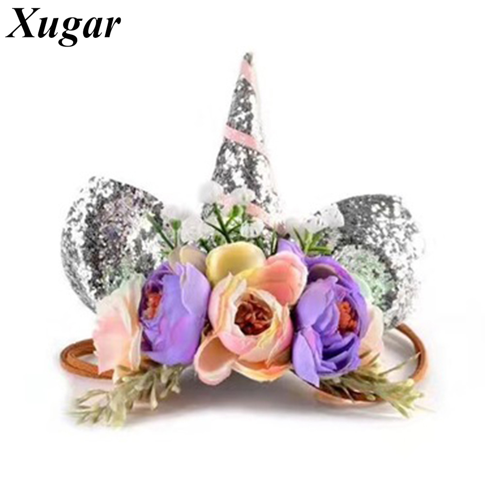 Newborn Kids Unicorn Floral Headband with Elastic Band Nylon Rope Flower Hair Bands Glitter Ears Hair Accessories for Girls metting joura vintage bohemian ethnic colored seed beads flower rhinestone handmade elastic headband hair band hair accessories