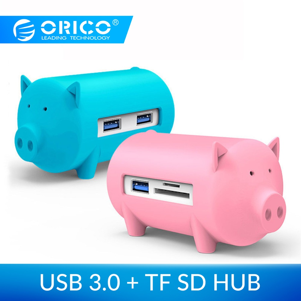 ORICO Cute Pig 4 Ports USB 3.0 OTG Hub USB Splitter Support TF SD Card Reader For MacBook Air Laptop PC USB3.0 Hub