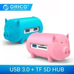 Orico porco bonito 4 portas usb 3.0 otg hub usb divisor suporte tf leitor de cartão sd para macbook ar computador portátil usb3.0 hub