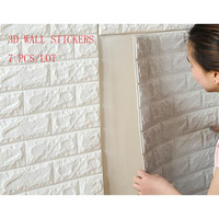 7pcs Self Adhensive 3D Brick Wall Stickers Living Room Decor Foam Waterproof Wall Covering Wallpaper For TV Background Kids Room