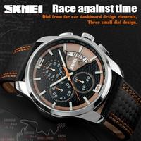 F1 Top marca skmei bicicleta reloj de cuero deporte de los hombres reloj de cuarzo hombres reloj impermeable Car Racing reloj calendario nuevo