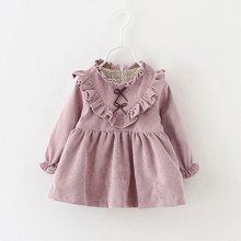 Wiosna noworodków dziewczynek księżniczka sukienka sukienek dla dziewczynek z długim rękawem suknie urodzinowe odzież dla niemowląt odzież wierzchnia tanie tanio Dla dzieci Dziecko dziewczyny Stałe princess dress o-necklace REGULAR Ruffles Pełna Poliester COTTON R-376 Kolan cotton polyester