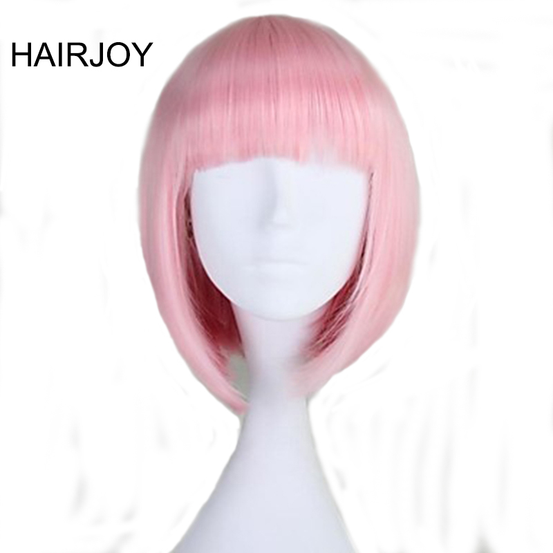 HAIRJOY Capless Short Straight BOB Light Pink Synthetic Wig Full Bang 8 Colors