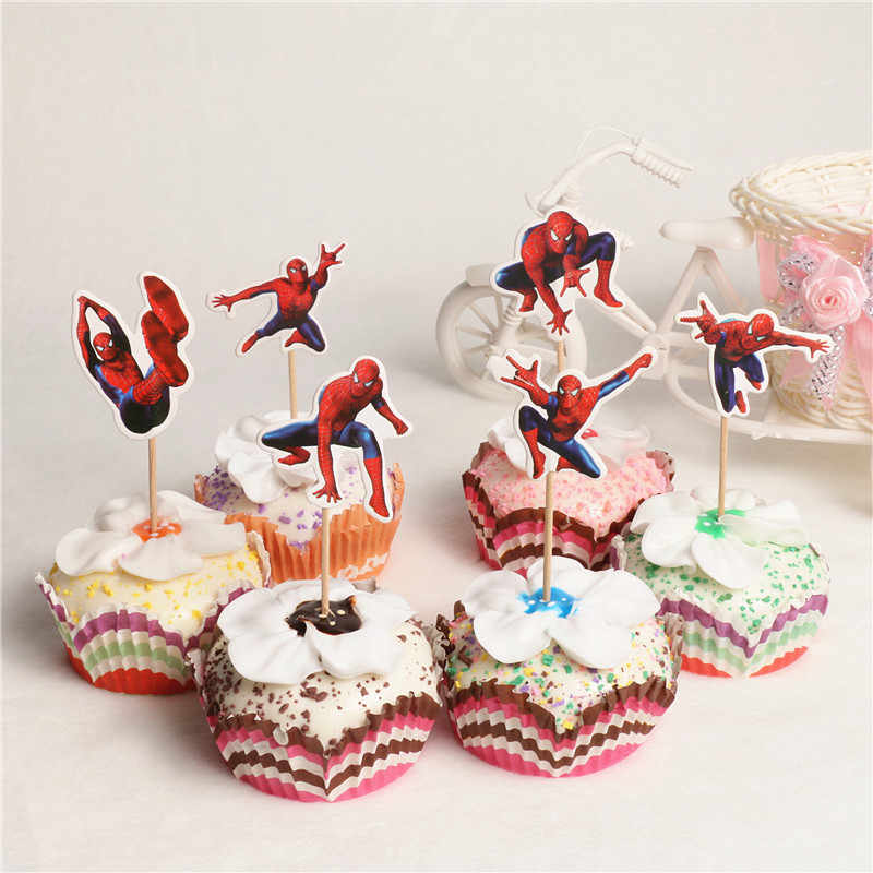 24pcs Spiderman Dos Desenhos Animados bolo topper crianças menino Bolo da Festa de Aniversário Decoração fontes do partido do chuveiro do bebê de coco Do Queque