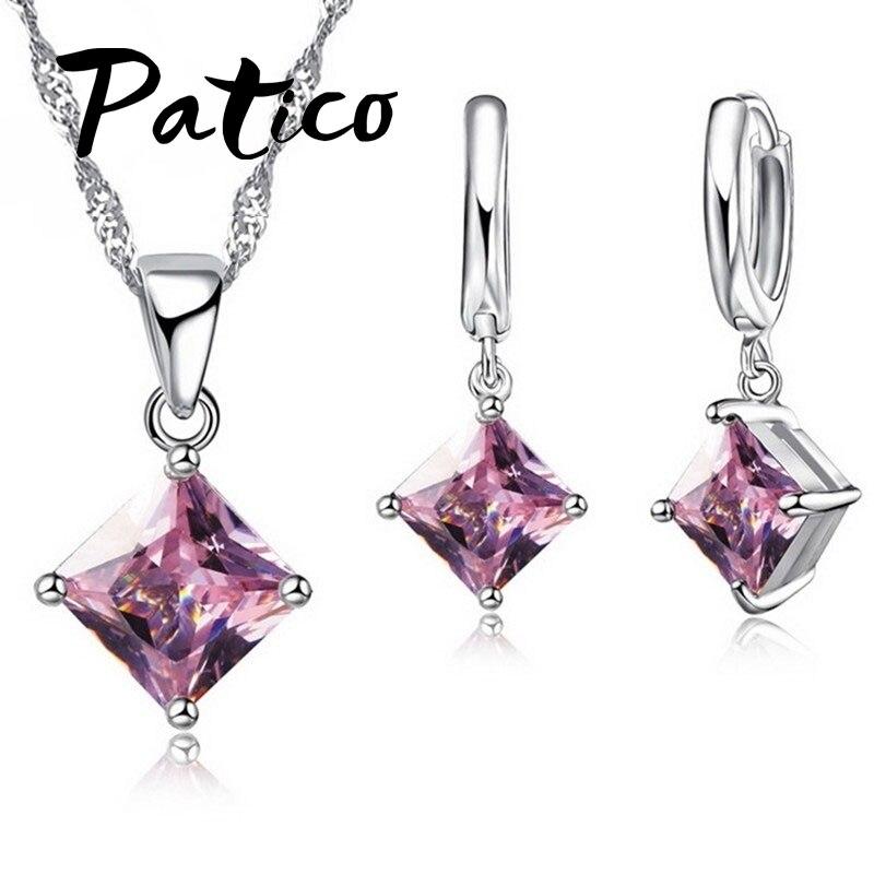 4b714e8c4b2b PATICO nueva 8 colores joyería conjuntos mujer cuadrilátero 925 plata  esterlina CZ cristal collar pendientes joyas al por mayor
