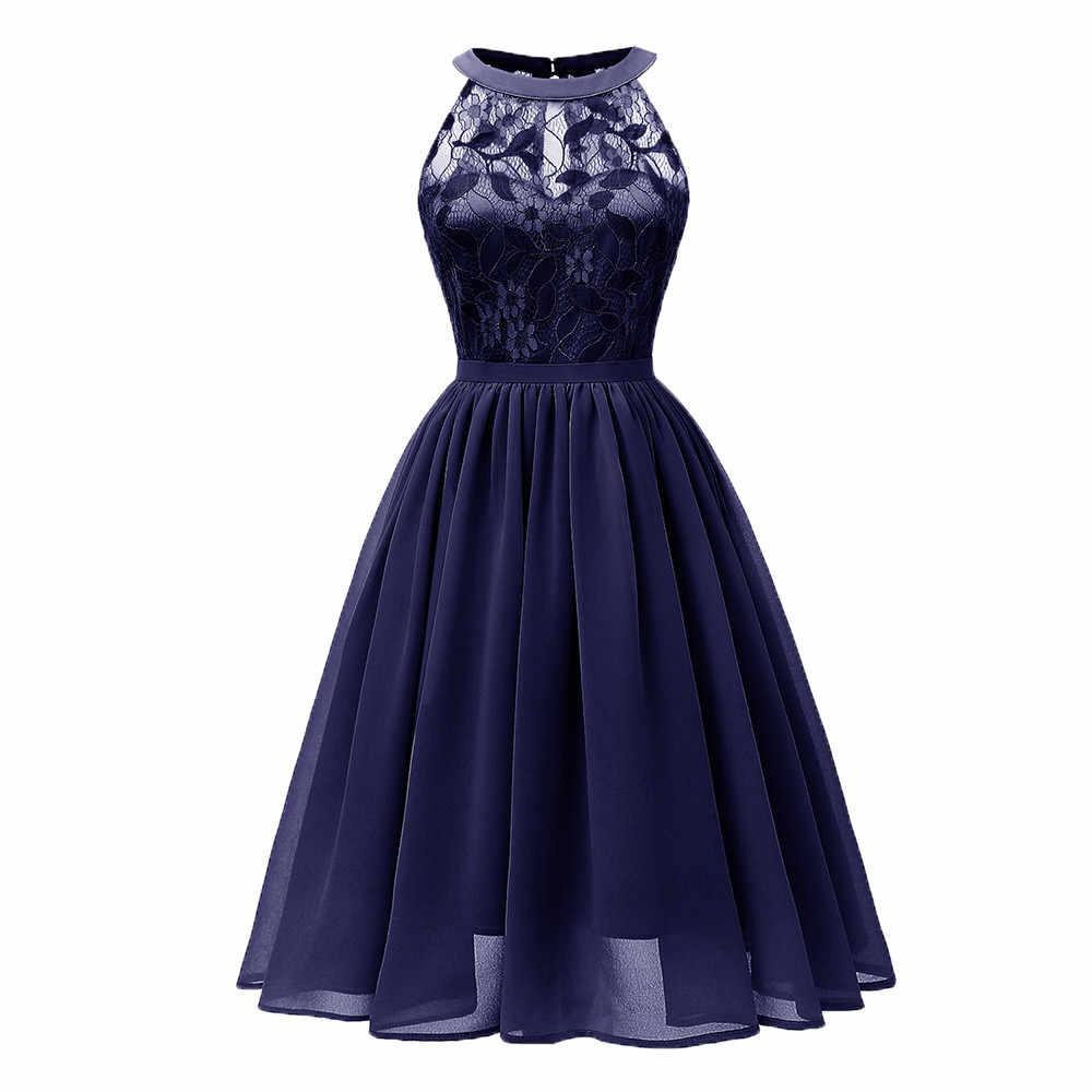 JAYCOSIN платье женские вечерние летние повседневные женские без рукавов однотонные кружевные платья длиной до щиколотки элегантные кружевные модные платья