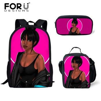 FORUDESIGNS Girls School Bags African Black Girls Hairstyle School Backpack Set Scool Bag For Girl Kids Girl Backpack Junior Bag 29
