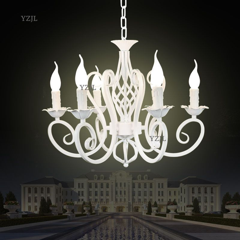 Creative simple black white chandelier iron lights chandelier bedroom restaurant lighting chandelier candle Lighting creative a60 black