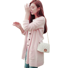 2017 new Korean girls's spring costume candy unfastened jacket sweater V-neck pocket sweater within the lengthy paragraph cardigan