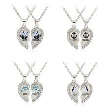 Vente chaude Panda dauphins pingouins ancre pendentif collier mode meilleurs amis 2 pièces/ensemble en alliage collier saint valentin cadeau