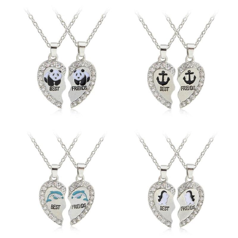 Hot Selling Panda Dolphins Penguins Anchor Pendant Necklace Fashion Best Friends 2 pcs/set Alloy Necklace Valentine's Gift