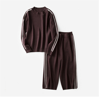 High Quality Knitted Women S Fashion Sweater Suits O Neck Pullover Calf Length Pant 2pcs Set