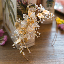 Dower me Handmade Beaded Gold Leaf Tiara Bridal Hair Crown Hairband Crystal Wedding Tiaras Hair Jewelry Women Accessories