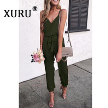 XURU summer new women's jumpsuit sexy V-neck sling solid color jumpsuit casual jumpsuit with belt collared overlap v neck jumpsuit