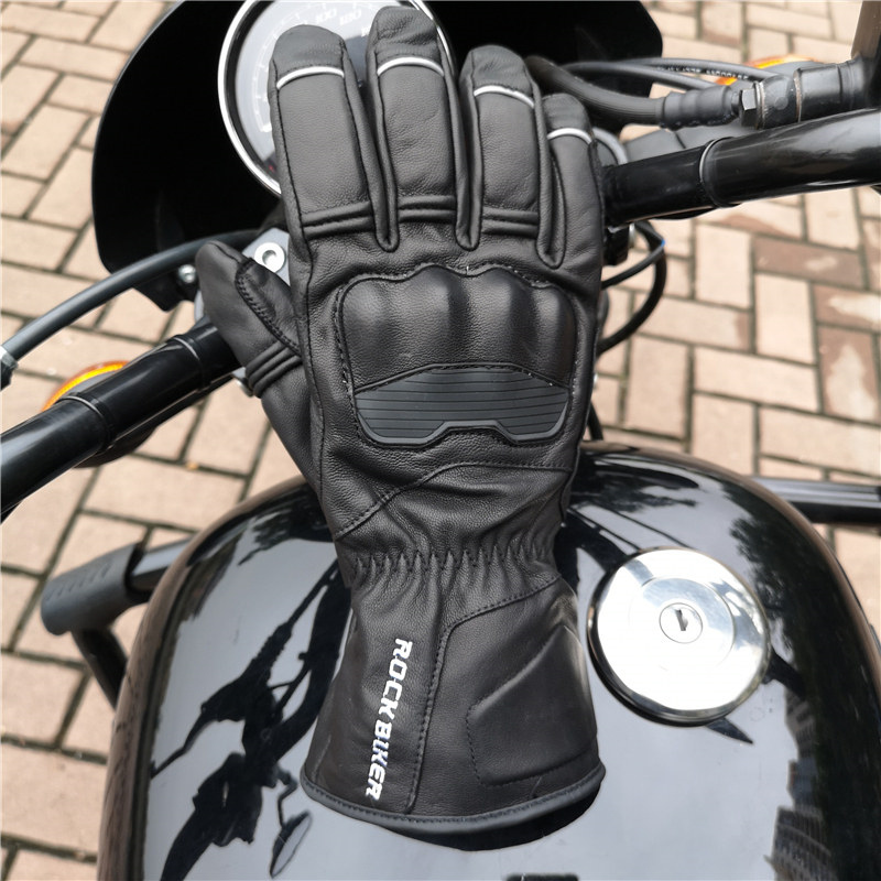 Rock Biker 2018 New Goat Skin Retro Leather Motorcycle Gloves Winter Keep Warm Waterproof Motocross Gloves