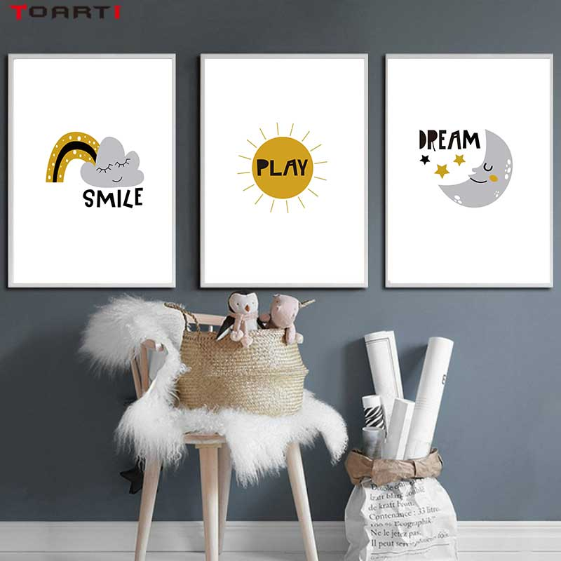 Cartoons Children Prints Posters Rainbow Moon Clouds Canvas Painting On The Wall Sun Art Picture For Baby Kids Bedroom Home Deco-in Painting & Calligraphy from Home & Garden