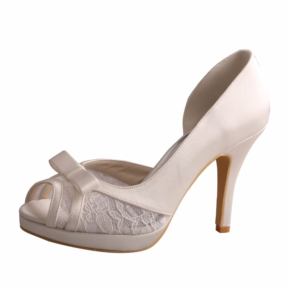 Venus Lure Open Toe White High Heel Lace Shoes Wedding for Women Bow Pumps