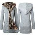 Moda 1 PC Mulheres Além de Veludo Engrossar Camisola Com Capuz Casaco de Leopardo Zíper