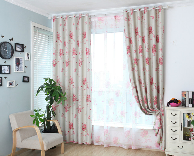 New shade cloth curtain pastoral style window curtains pink flower new shade cloth curtain pastoral style window curtains pink flower curtains for bedroom and living room mightylinksfo